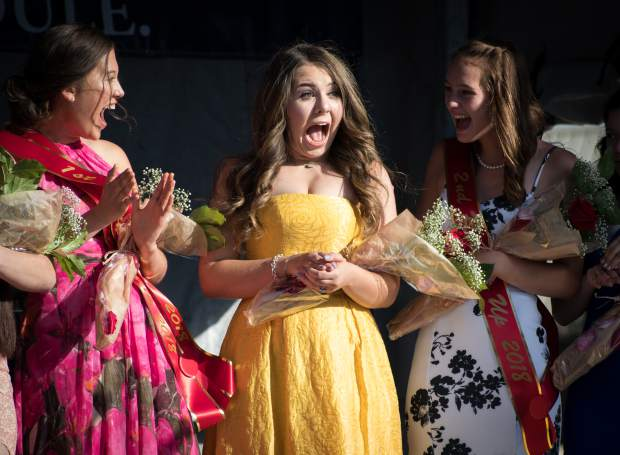 Miss Strawberry Days contestant Savannah Otto reacts to winning the 2018 Miss Strawberry Days scholarship program during the crowning at Sayre Park on Friday evening.