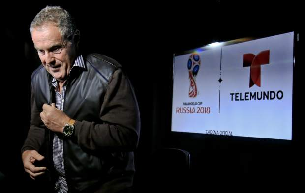Argentine sportscaster and legendary Telemundo soccer broadcaster Andres Cantor leaves after an interview about his 2018 World Cup assignment, Wednesday May 16, 2018, in New York. (AP Photo/Bebeto Matthews)