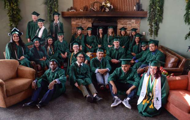Bridges High School's class of 2018 poses for a photo at The Orchard in Carbondale on June 1, 2018, before their graduation ceremony.