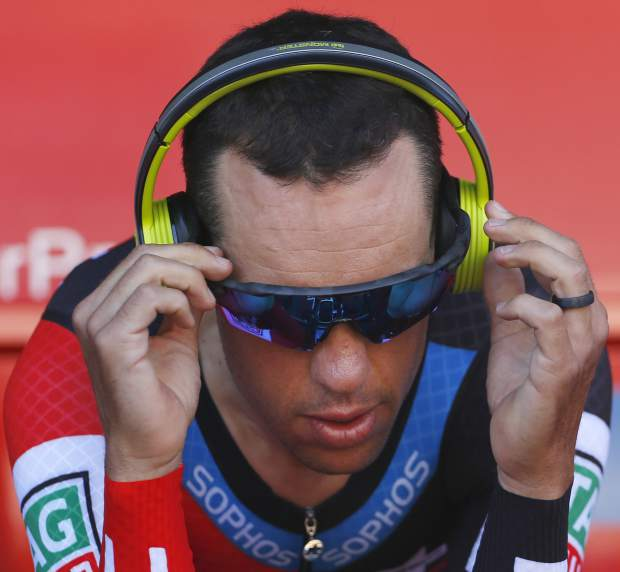 Australia's Richie Port warms up prior to the third stage of the Tour de France cycling race, a team time trial over 35.5 kilometers (22 miles) with start and finish in Cholet, France, Monday, July 9, 2018. (AP Photo/Peter Dejong)