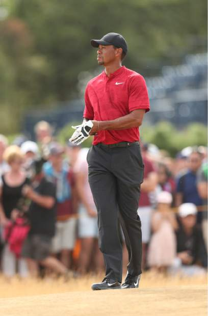 Tiger Woods of the US during the final round of the British Open Golf Championship in Carnoustie, Scotland, Sunday July 22, 2018. (AP Photo/Jon Super)