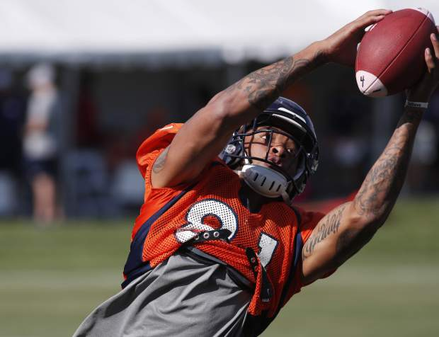 Denver Broncos wide receiver Tim Patrick takes part in drills at the team's NFL football training camp Monday, July 30, 2018, in Englewood, Colo. (AP Photo/David Zalubowski)