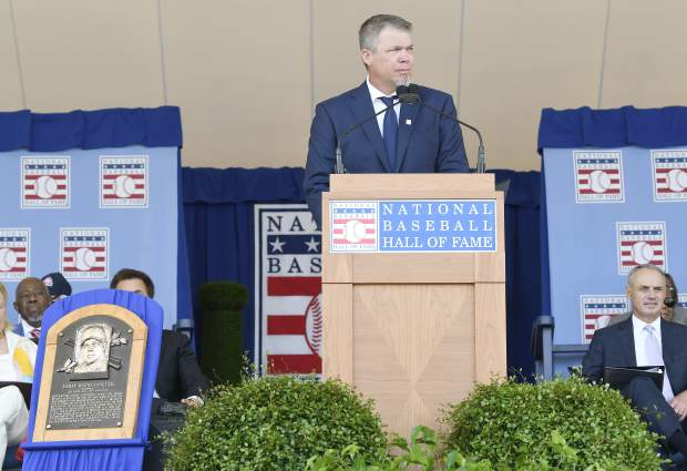 National Baseball Hall of Fame inductee Chipper Jones speaks during an induction ceremony at the Clark Sports Center on Sunday, July 29, 2018, in Cooperstown, N.Y. (AP Photo/Hans Pennink)