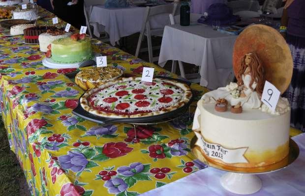 Cakes are lined up for the traditional Carbondale Mountain Fair contest on Sunday morning.