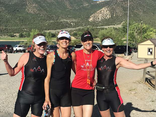 The finish of the Roaring Fork Women's Tri Team mini Tri Training at Harvey Gap. From left to right, Jeanette Chiappinelli, Jennifer Schaiberger, Sharma Phillips and Nancy Reinisch.
