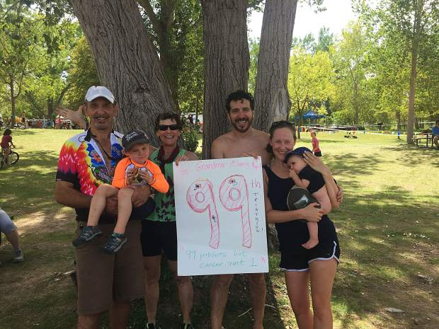From left to right, husband Paul Salmen, grandson Moses, Nancy Reinisch, son Chas Salmen, his wife Jenna Hines and granddaughter Sunny Rae after the finish of the Desert Edge Triathlon.