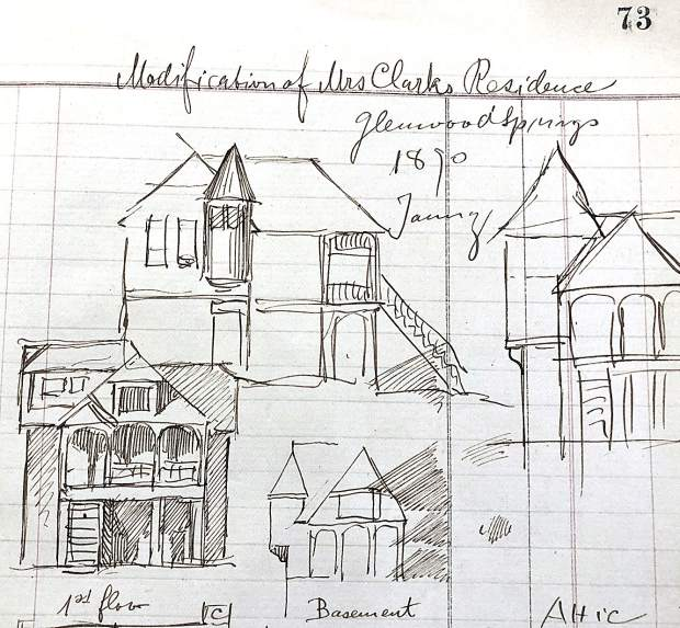 A detail from the sketch book includes a page with a design for a Glenwood Springs home.