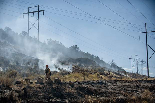 The Lake Christine Fire burns by powerlines in Basalt on July 4, 2018.