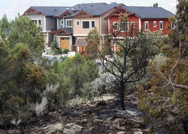 The fire line from the Lake Christine Fire enroached on homes in El Jebel. (Photo by Austin Colbert/The Aspen Times).