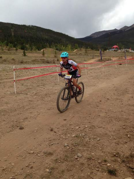 Ella Lindenberg pushes the pace during Sunday's mountain biking race in Frisco.