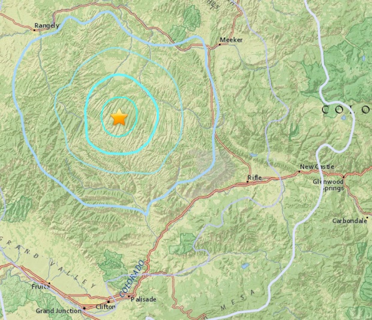 Nw Colorado Map.Colorado S Strongest Earthquake Of 2018 Strikes Nw Of Parachute On