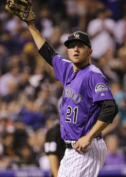 Colorado Rockies starting pitcher Kyle Freeland waves to the crowd after the seventh inning of a baseball game against the Pittsburgh Pirates, Monday, Aug. 6, 2018, in Denver. (AP Photo/Jack Dempsey)