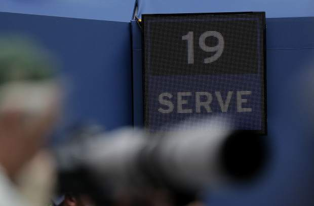 A serve clock is pictured during the first round of the U.S. Open tennis tournament match between Venus Williams and Svetlana Kuznetsova, of Russia, Monday, Aug. 27, 2018, in New York. (AP Photo/Seth Wenig)