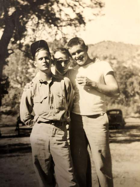 1st Lt. Philip S. (Pots) WIlmot hangs with some Marine friends during WWII.