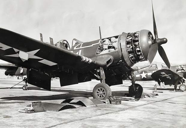A Vought F4U Corsair seen here in an undated photo. 1st Lt. Philip S. (Pots) Wilmot flew one of the single seat fighters during WWII.