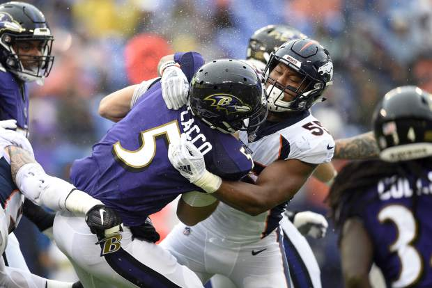 Denver Broncos linebacker Bradley Chubb (55) sacks Baltimore Ravens quarterback Joe Flacco in the first half of an NFL football game, Sunday, Sept. 23, 2018, in Baltimore. (AP Photo/Nick Wass)