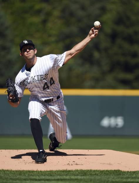 Colorado Rockies starting pitcher Tyler Anderson (44) delivers in the first inning of a baseball game against the Los Angeles Dodgers, Sunday, Sept. 9, 2018, in Denver. (AP Photo/John Leyba)
