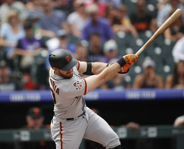 San Francisco Giants' Evan Longoria grounds out against Colorado Rockies starting pitcher Tyler Anderson in the first inning of a baseball game Monday, Sept. 3, 2018, in Denver. (AP Photo/David Zalubowski)