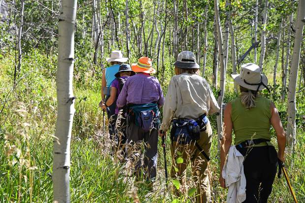 The Wednesday Wanderers head out on their hike to Hunter Creek in Aspen on Aug 29.