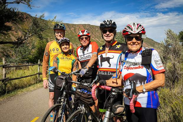 From right to left, Mary Kopf, Ray Limoges, Michael Skeps, and Jon and Martha Lindenberg are all members of the 100 Club and actively hike and bike on a weekly basis.