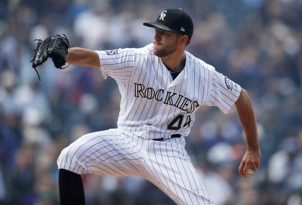 Colorado Rockies starting pitcher Tyler Anderson works against the Washington Nationals in the first inning of a baseball game Sunday, Sept. 30, 2018, in Denver. (AP Photo/David Zalubowski)