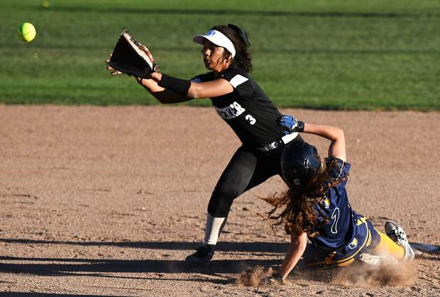 Rifle Bear Delaney Phillips safely steals second base during Thursday's game against the Meeker Cowboys in Rifle.