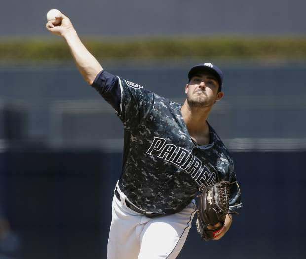 San Diego Padres starting pitcher Jacob Nix delivers to a Colorado Rockies batter during the first inning of a baseball game in San Diego, Sunday, Sept. 2, 2018. (AP Photo/Alex Gallardo)