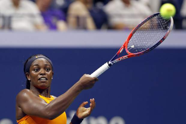 Sloane Stephens, of the United States, watches a return to Elise Mertens, of Belgium, during the fourth round of the U.S. Open tennis tournament Sunday, Sept. 2, 2018, in New York. (AP Photo/Adam Hunger)