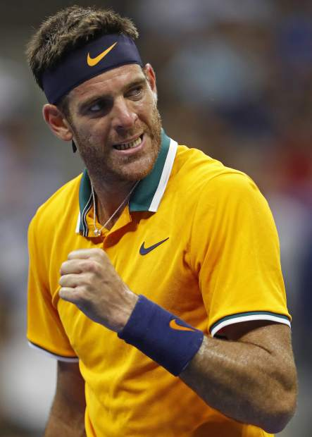 Juan Martin del Potro, of Argentina, reacts after winning the second set against Borna Coric, of Croatia, during the fourth round of the U.S. Open tennis tournament, Sunday, Sept. 2, 2018, in New York. (AP Photo/Adam Hunger)