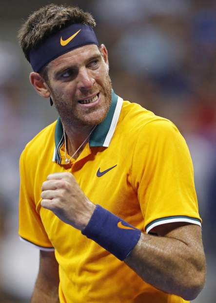 Juan Martin del Potro, of Argentina, reacts after winning the second set against Borna Coric, of Croatia, during the fourth round of the U.S. Open tennis tournament Sunday, Sept. 2, 2018, in New York. (AP Photo/Adam Hunger)
