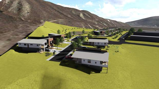An architect's rendering shows an aerial view of the Basalt Vista project, which will provide 27 units of affordable housing on the hillside south of Basalt High School.