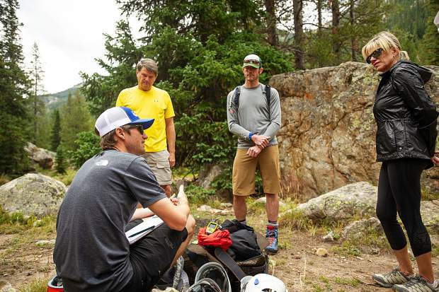 A field planning and safety clinic up Independence Pass on August 25 with KC Nau, back left, David Rubin, center, Debbie Stonecipher and Aspen Alpine Guide Nate Rowland.