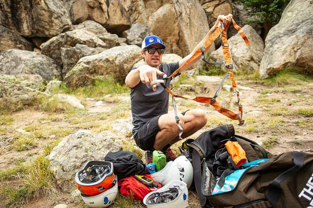 Aspen Alpine Guide a type of harness he takes mountaineering for a field planning and safety clinic August 25.