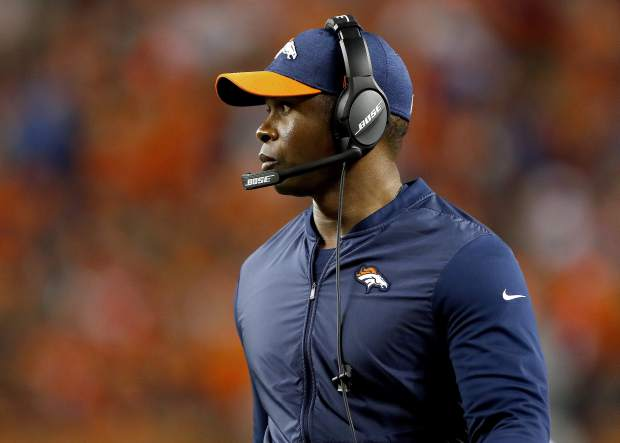 Denver Broncos head coach Vance Joseph watches during the first half of an NFL football game against the Kansas City Chiefs, Monday, Oct. 1, 2018, in Denver. (AP Photo/Jack Dempsey)