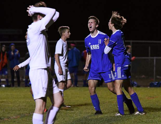 Roaring Fork Rams celebrate after Aiden Sloan's goal in the first half against the Coal Ridge Titans on Thursday evening.