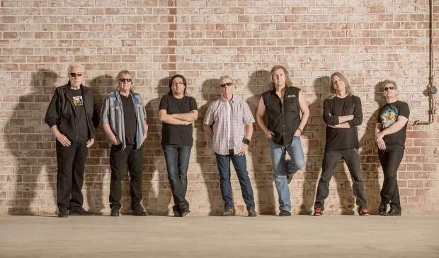 The band members of Kansas (left to right) Richard Williams, Billy Greer, Zak Rizvi, Phil Ehart, Ronnie Platt, David Manion, and David Ragsdale