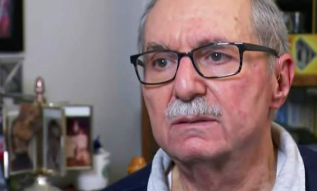 In this Sunday, Oct. 28, 2018, frame from video, Barry Werber describes how he survived the Pittsburgh synagogue shooting during an interview, in Pittsburgh. He and other terrorized worshippers concealed themselves in a supply closet as gunman Robert Bowers stepped over the body of a man he had just shot and killed, entered their darkened hiding spot and looked around.