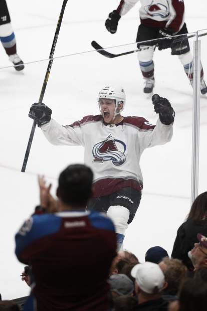 Colorado Avalanche's Mikko Rantanen, of Finland, celebrates his overtime goal in an NHL hockey game against the Anaheim Ducks on Sunday, Nov. 18, 2018, in Anaheim, Calif. The Avalanche won 4-3. (AP Photo/Jae C. Hong)