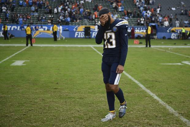 Los Angeles Chargers wide receiver Keenan Allen reacts after their loss against the Denver Broncos during an NFL football game Sunday, Nov. 18, 2018, in Carson, Calif. (AP Photo/Kelvin Kuo)