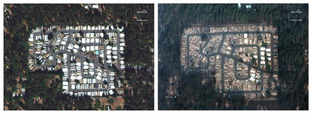 This combination photo of satellite images provided by DigitalGlobe shows a neighborhood in the northern California town of Paradise before a wildfire on Sept. 10, 2018, left, and after the fire on Nov. 17, 2018. Desperate families posted photos and messages on social media and at shelters in hopes of finding missing loved ones, many of them elderly, nearly two weeks after the wildfire known as the Camp Fire. (DigitalGlobe, a Maxar company via AP)