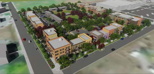 Aerial illustration of new Carbondale neighborhood near City Market. (Courtesy Poss Architecture: Drew Wisnoski, Andrew Wisnoski, Dave Ritchie and Mike Hamberg)