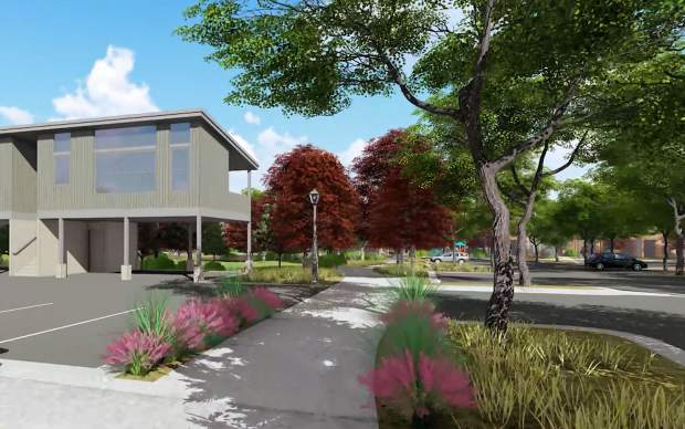 An architectural rendering depicts the design for the new Carbondale residential neighborhood near the soon-to-be-built new City Market on West Main Street.