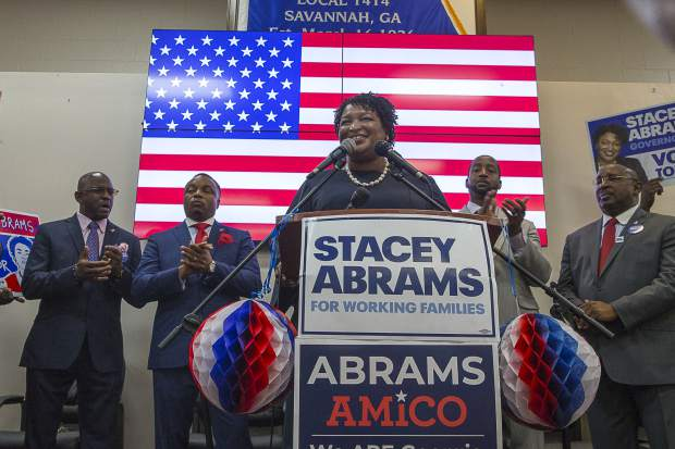 Georgia Democratic gubernatorial candidate Stacey Abrams speaks at the Longshoremen Union Hall during a