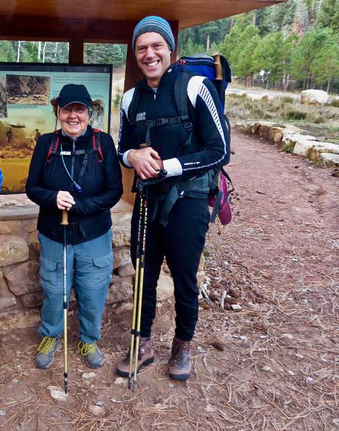 Janet Weidemann and her son David Weidemann hiked rim-to-rim in the Grand Canyon at the end of October.