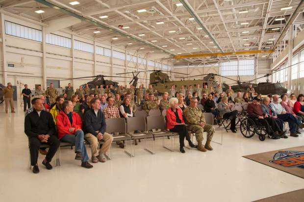 HAATS troops, their families, Colorado Army National Guard officers and local officials gather for Lt. Col. Anthony Somogyi's retirement ceremony. Somogyi will begin a new career as a civilian commericial pilot flying for United Express, stationed out of Denver.