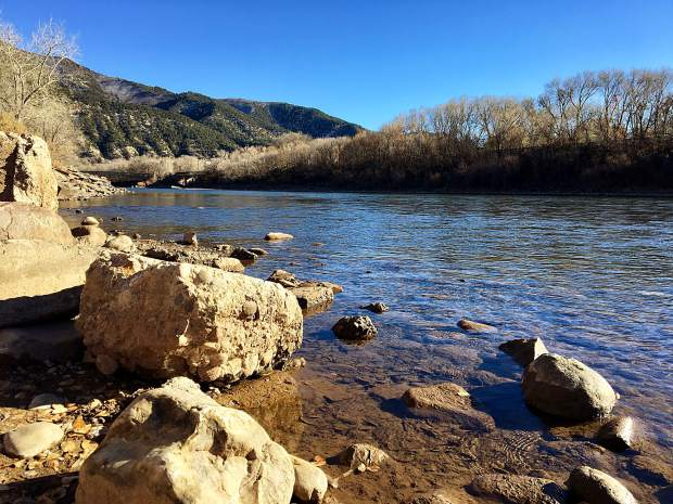 The Colorado River near the boat ramp in Two Rivers Park, one of three river locations for which Glenwood Springs is seeking water rights for new whitewater park amenities.