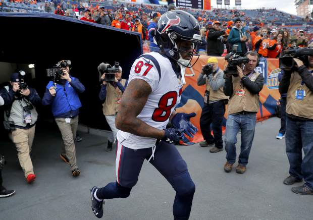 Houston Texans wide receiver Demaryius Thomas (87) takes the field prior to an NFL football game against the Denver Broncos, Sunday, Nov. 4, 2018, in Denver. (AP Photo/David Zalubowski)