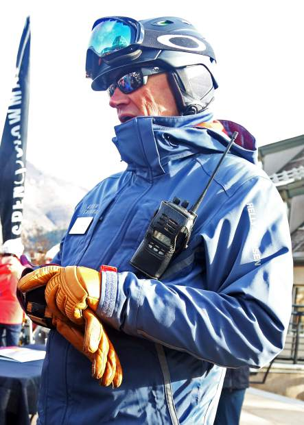 J.T. Welden, the new mountain manager for Aspen Mountain, chats on opening day Saturday, Nov. 17, 2018, near the Silver Queen Gondola. (Photo by Austin Colbert/The Aspen Times).