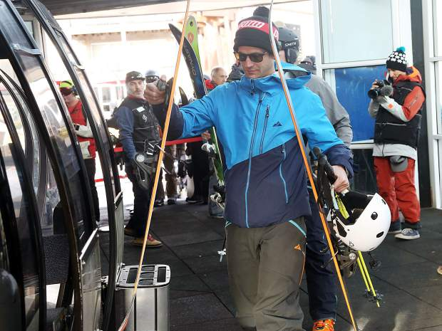 Skiers board the Silver Queen Gondola for Aspen Mountain opening day on Saturday, Nov. 17, 2018. (Photo by Austin Colbert/The Aspen Times).