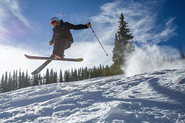 Bear Bolduc gets some air on Snowmass Mountain.